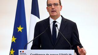 Le Premier ministre Jean Castex, lors de la conférence de presse sur l'épidémie du Covid-19, le 15 octobre 2020. (LUDOVIC MARIN / POOL / AFP)