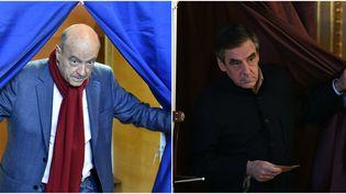 Photomontage des deux candidats Alain Juppé et François Fillon en train de voter, dimanche 27 novembre 2016, pour le second tour de la primaire de la droite. (AFP)