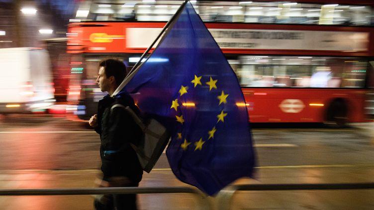 Un homme porte un drapeau de l'Union européenne à Londres, le 24 janvier 2017. (LEON NEAL / GETTY IMAGES EUROPE)