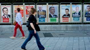 Les panneaux électoraux dans la ville de Pau (Pyrénées-Atlantiques) pour le premier tour de l'élection présidentielle, le 23 avril 2017. (LAURENT FERRIERE / AFP)