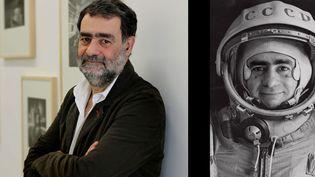 """Joan Fontcuberta à Barcelone en mars 2013, à côté de son oeuvre """"Spoutnik"""" : portrait officiel du pilote-cosmonaute Ivàn Istochnikov, 1968  (A gauche, A droite © Joan Fontcuberta)"""