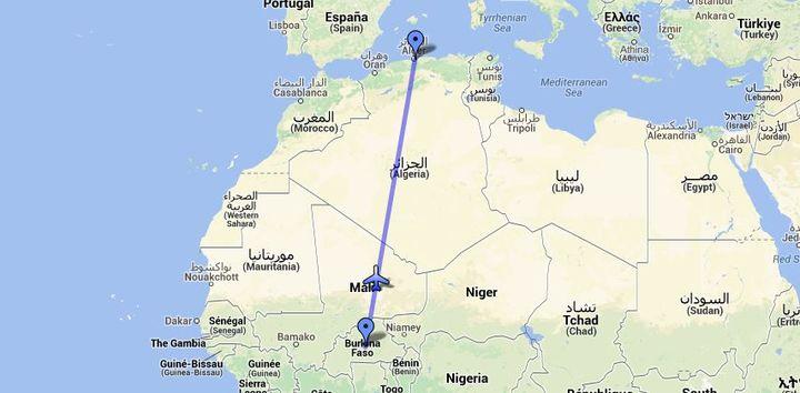 Le vol AH 5017 devait relier Ouagadougou à Alger, mais a disparu en survolant le nord du Mali. ( GOOGLE MAPS / FRANCETV INFO )