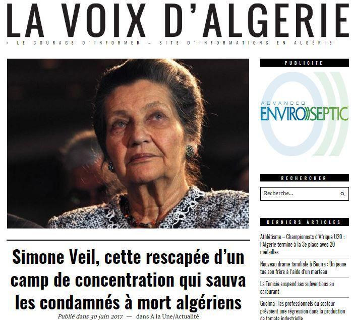 Titre de la Voix d'Algérie du 30 juin 2017 sur la mort de Simone Veil (DR)