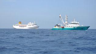 """Le """"Costa Allegra"""" (à g.), remorqué par un thonier français au large des Seychelles, le 28 février 2012. (PREFECTURE DE LA REUNION / AFP)"""