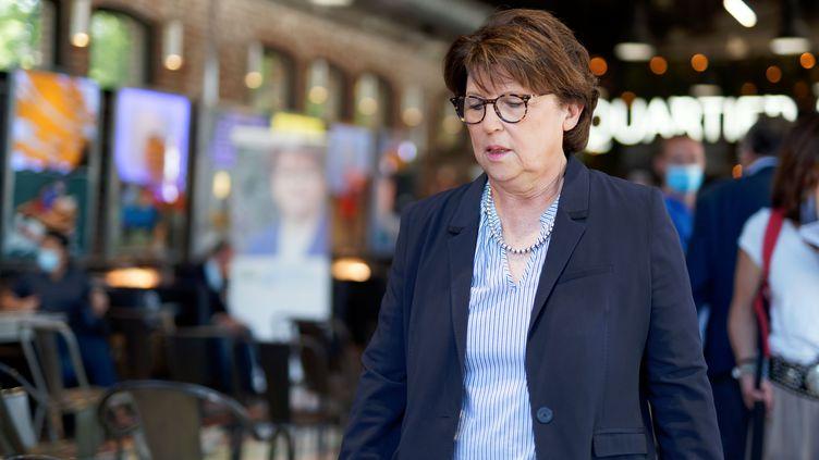 Martine Aubry, maire sortante PSde Lille, lors d'une conférence de presse avant le second tour des élections municipales, le 24 juin 2020. (SYLVAIN LEFEVRE / HANS LUCAS)
