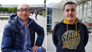 Vincent Dusastre (à gauche) et Julien Richard (à droite) vont suivre cette finale de Coupe d'Europe de rugby depuis les tribunes de Twickenham (12 Mai 2021).  (RICHARD PLACE/ RADIO FRANCE)