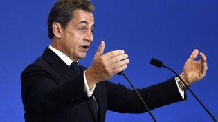 Nicolas Sarkozy, le président de l'UMP, le 13 décembre 2014 au siège du parti, à Paris. (DOMINIQUE FAGET / AFP)