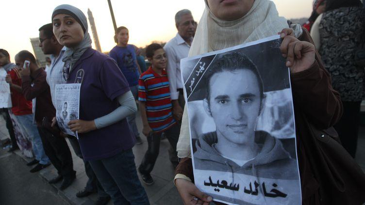 Une manifestation le 6 juin 2011 au Caire (Egypte), organisée pour marquer le premier anniversaire de la mort de Khaled Saïd. (KHALED DESOUKI / AFP)