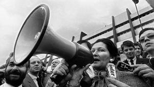 Simone Veil parle aux agriculteurs qui manifestent devant le Parlement européen à Strasbourg, le 25 mars 1980. (DOMINIQUE FAGET / AFP)