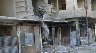 Un immeuble détruit dans le quartier de la Ghouta, situé à l'est de Damas (Syrie), le 5 octobre 2013. ( REUTERS)