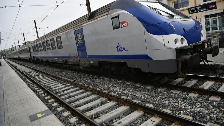 Un TER au départ de la gare Marseille Saint-Charles (Bouches-du-Rhône), en avril 2018. (BERTRAND LANGLOIS / AFP)