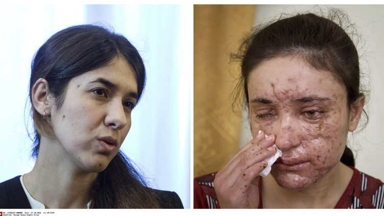 À gauche Nadia Murad, à droiteLamia Haji Bachar, toutes deux lauréates du Prix Sakharov 2016. (AP/SIPA / AP)