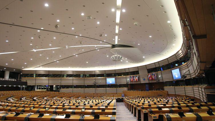 Vue de l'hémicycle du Parlement européen de Bruxelles. (LUCCIONI / MAXPPP)