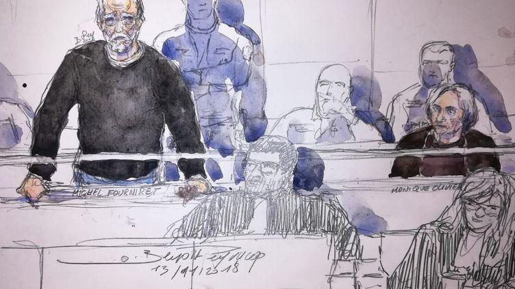 Michel Fourniret et Monique Olivier lors de leur procès pour l'assassinat de Farida Hammiche, le 13 novembre 2018 devant la cour d'assises des Yvelines, à Versailles. (BENOIT PEYRUCQ / AFP)
