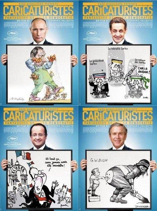 """Affiches du documentaire """"Caricaturistes - Fantassins de la démocratie"""" de Stéphanie Valloatto  (DR)"""