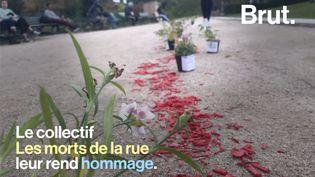 """Les membres de l'organisation """"Les morts de la rue"""" honorent avec quelques fleurs les SDF décédés. Géraldine Franck, présidente du collectif, pointe l'attentisme des politiques. (BRUT)"""