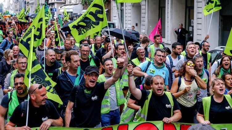 Manifestation contre la réforme de la SNCF, le 11 juin 2018 à Paris. (AFP)