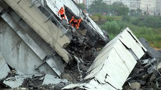 Des secouristes cherchent des victimes après l'effondrement d'une partie du viaduc Morandi à Gênes, le 14 août 2018. (ANDREA LEONI / AFP)