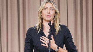 Maria Sharapova a annoncé avoir été contrôlée positive au meldonium, lors d'une conférence de presse à Los Angeles (Californie, Etats-Unis), le 7 mars 2016. (ROBYN BECK / AFP)