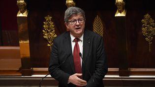 Le leader de la France insoumise Jean-Luc Mélenchon à l'Assemblée nationale, le 15 octobre 2019. (CHRISTOPHE ARCHAMBAULT / AFP)