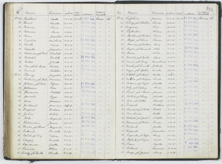 Registre du camp allemand du fort de Romainville listant les détenues françaises déportées enAllemagne, mai 1944  (Archives nationales / Alain Berry)