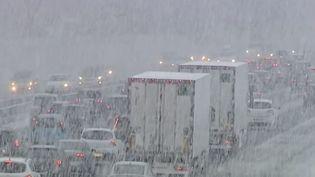 La neige tombe sur l'A43 entre Lyon (Rhône) et Chambéry (Savoie), samedi 21 février. ( FRANCE 2)