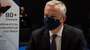 Le ministre de l'Economie, Bruno Le Maire, lors d'une conférence de presse, (ANDREA SAVORANI NERI / NURPHOTO / AFP)