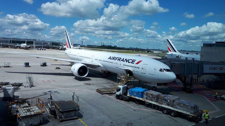 Un avion Air France à l'aéroport Roissy-Charles de Gaulle, en juin 2019. Avec cette pandémie du coronavirus, le groupe Air France KLM n'aurait plus que deux mois de trésorerie d'avance.  (STEPHANIE BERLU / RADIO FRANCE)