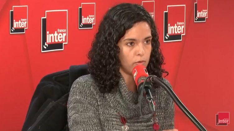 Manon Aubry, qui va conduire la liste de La France insoumise aux élections européennes en mai prochain, le 18 décembre 2018. (RADIO FRANCE / FRANCE INTER)