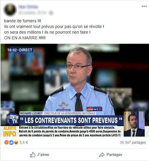 Capture d'écran d'un post Facebook accompagné d'un montage photo laissant croire à des menaces de sanctions de la part du directeur de la gendarmerie nationale. (FRANCEINFO)