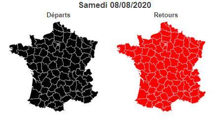 Bison Futé prévoit un samedi noir sur les routes dans le sens des départs, ce 8 août 2020. (BISON FUTE)