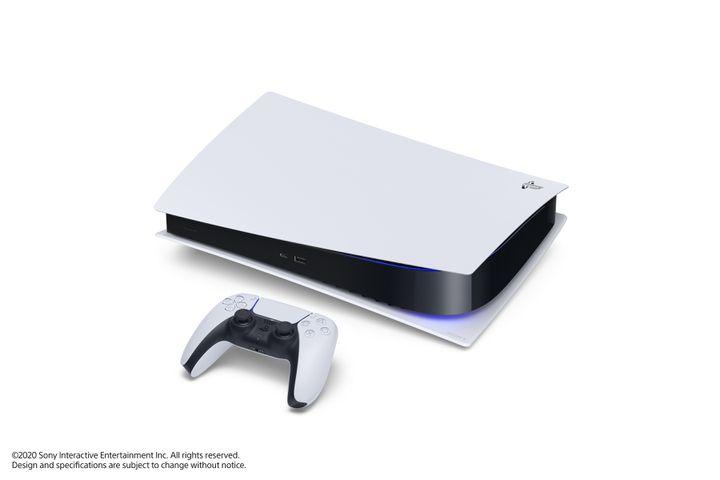 """La PS5 """"Digital Version"""" présentée posée à l'horizontal. (SONY INTERACTIVE ENTERTAINMENT)"""