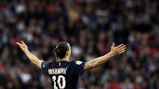 Le joueur suédois Zlatan Ibrahimovic durant le match de Ligue 1 entre le PSGetGuingamp, le 8 mai 2015 au Parc des Princes. (FRANCK FIFE / AFP)