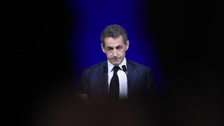 Nicolas Sarkozy devant le Conseil national des Républicains, le 14 février 2016 à Paris.  (LIONEL BONAVENTURE / AFP)