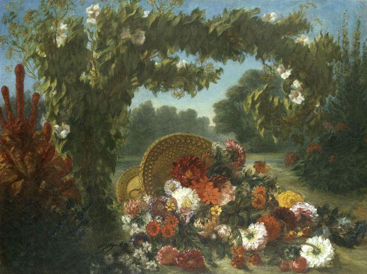 """Eugène Delacroix, """"Corbeille de fleurs renversée dans un jardin"""", 1848-1849, salon de 1849.New York, The Metropolitan Museum of Art.  (The Metropolitan Museum of Art)"""