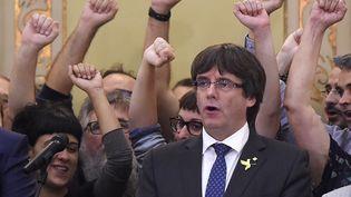 Le président catalan Carles Puigdemont, le 27 octobre 2017, après la déclaration d'indépendance de la Catalogne. (JOSEP LAGO / AFP)