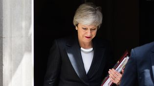 Theresa May quitte Downing Street, à Londres (Royaume-Uni), le 22 mai 2019. (WIKTOR SZYMANOWICZ / NURPHOTO / AFP)
