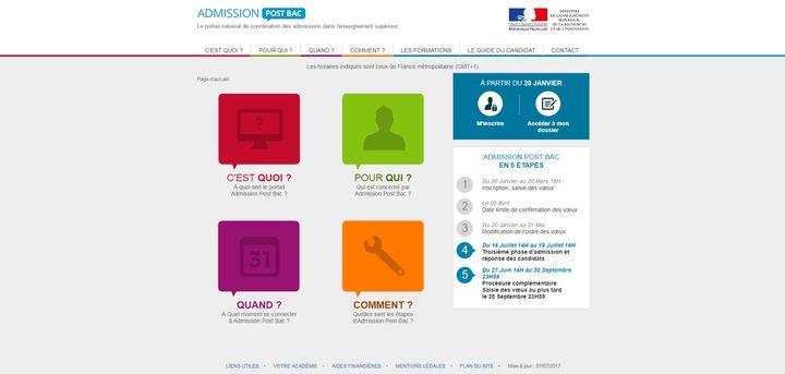 "Le site ""admission post-bac"". (CAPTURE D'ÉCRAN)"