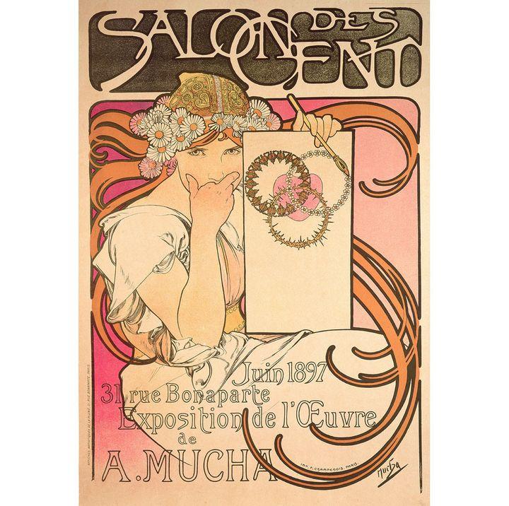 """Alphonse Mucha, """"Salon des Cent : exposition de l'oeuvre de Mucha"""", 1897, lithographie en couleur, Fondation Mucha, Prague  (Mucha Trust 2018)"""