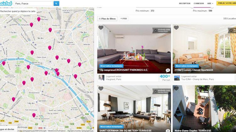 (Capture d'écran du la plateforme de sous-location de logement Airbnb)
