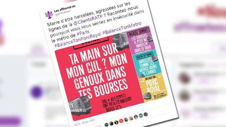L'association Les effronté·es a lancé avec le collectif Nous Toutes le hashtag #BalanceTonMétro sur les réseaux sociaux, le 24 avril 2019. (CAPTURE D'ECRAN TWITTER)