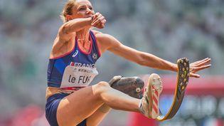 La française Marie-Amélie Le Fur aux JO paralympiques de Tokyo le 28 août 2021. Elle a remportéla médaille d'argent au concours de la longueur. (ULRIK PEDERSEN / NURPHOTO VIA AFP)