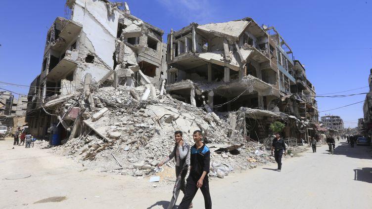 A Douma, dans la banlieue de Damas, le 16 avril 2018. (LOUAI BESHARA / AFP)