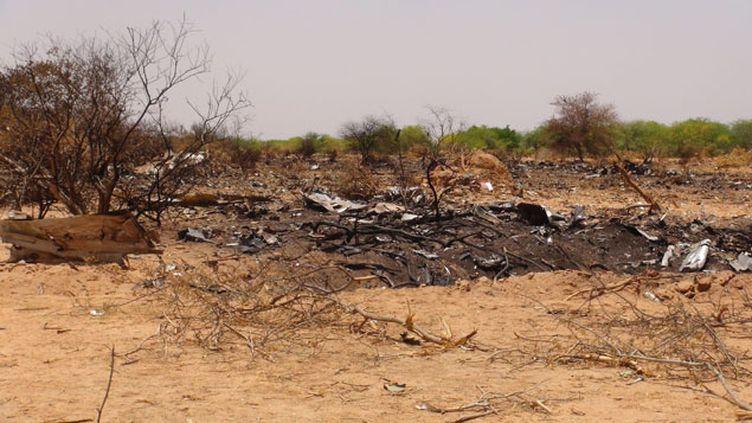 (Les restes du MD 83 d'Air Algérie dans le nord du Mali © Maxppp)