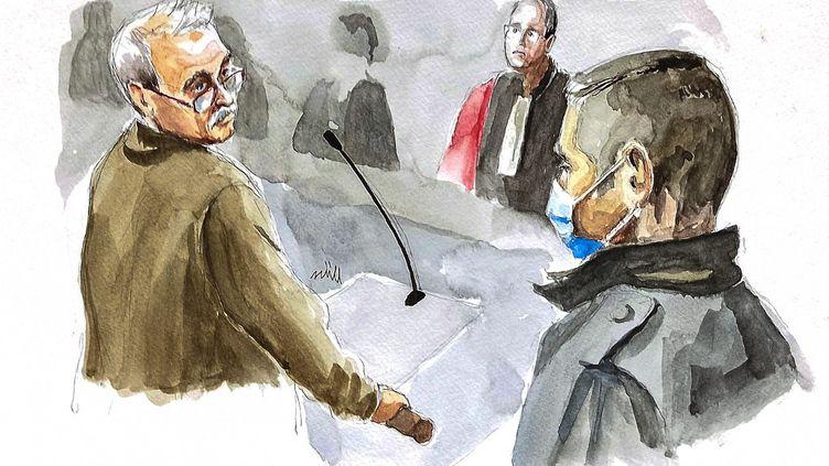 Le face-à-face entre Jonathann Daval et son ancien beau-père Jean-Pierre Fouillot au tribunal de Vesoul (Haute-Saône), le 18 novembre 2020. (ZZIIGG / AFP)