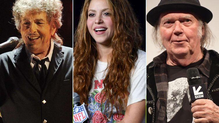 Bob Dylan, Shakira et Neil Young ont tous les trois cédé les droits de leur catalogue respectif de chansons en 2020 ou 2021. (CHRIS PIZZELO AP / SIPA - KEVIN WINTER / GETTY / AFP - MATT WINKELMEYER / GETTY / AFP)