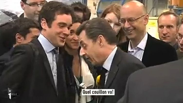 Nicolas Sarkozy était en déplacement dans la Marne, le 15 mars 2012. (CAPTURE FTVI)
