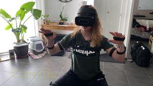 Camille Depuiset gardienne Handball Elite s'entraîne chez elle avec la réalité virtuelle (FRANCEINFO)