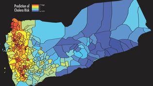Les zones à risque du choléra au Yémen identifiées grâce à l'analyse des données satellites. (WEST VIRGINIA UNIVERSITY / ANTAR JUTLA)
