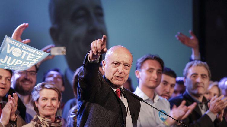 L'ancien Premier ministre, Alain Juppé, lors d'un meeting à Bordeaux, le 19 mars 2014. (MAXPPP)